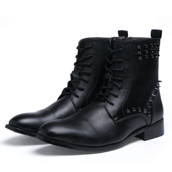 Harga men's fashion business leather boots ankle boots formal shoes