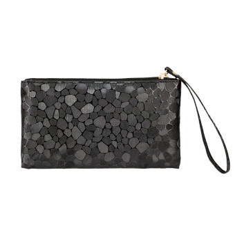 Harga Fashion Shinny Leather Stone Pattern Wristlet Purse For Women Zipper Clutch Money Bag Black - Intl