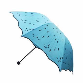 Rosida Payung Lipat 3 Rain Drops - Biru Muda