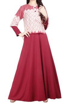 Ofashion Gamis Mora AX 5044 Pakaian Gaun Muslim Jersey Mix Katun Merah .