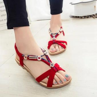 Harga JOY The new open toe beaded national wind sandals Red - intl