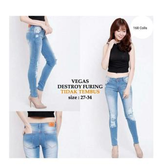 Harga 168 Collection Celana Big Vergie Jeans Pant Biru .