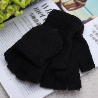 Harga Men Women Warm Fingerless Gloves Winter Warm Half Finger Flip Knitted Mittens Black - intl