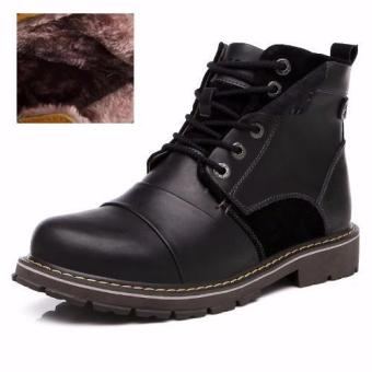 Harga 2016 Winter Men Boots Warm Ankle Boots Fashion Martin Boots Lace Up Waterproof Genuine Leather Plush Snow Boots(Black fur) - intl