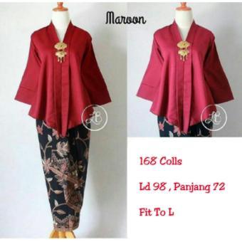 168 Collection Atasan Blouse Moniq Abaya Dan Rok Lilit Batik-Maroon