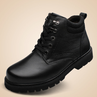 Harga Tauntte Plus Size Winter Keep Warm Men Work Boots Genuine Leather Ankle Boots With Fur Waterproof Safety Boots (Black) - intl