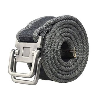 Harga Pria Sabuk Men's Canvas Double Metal Buckle Belt - Abu-abu