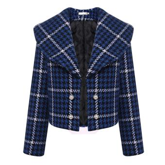 Harga Yika Women Shawl Collar Long Sleeve Plaid Short Coat - intl