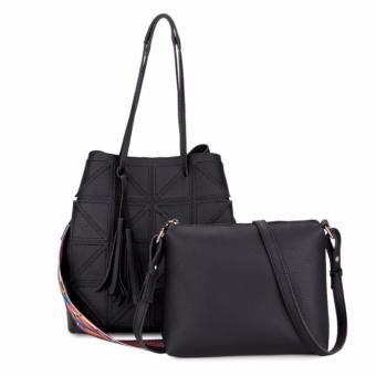 KGS Tas Casual/ Wanita Geometric Tote Bag 2 in 1 - Hitam