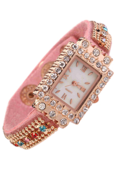 Harga Bluelans Woman Crystals Roman Numerals Pink Square Wristwatch