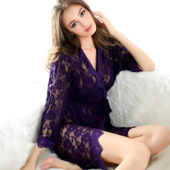 Harga Sexy Lingerie Set Bra+G-String+Coat 3 Pcs Costume Hot Sexy Woman Underwear Set See Through Lace Lingerie Set(Purple) - intl