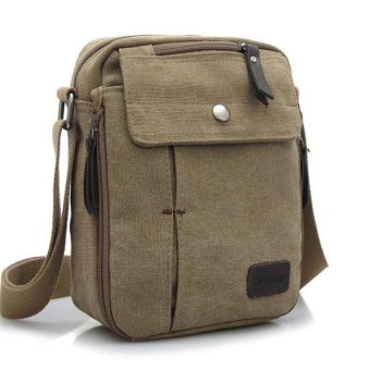 Harga Tas Pria Men Vintage Canvas Multifunction Travel Satchel Messenger Shoulder Bag - Khaki