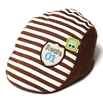Harga Cute Baby Infant Boy Girl Stripes Cotton Baseball Cap Peaked Beret Hat Casquette Coffee - intl