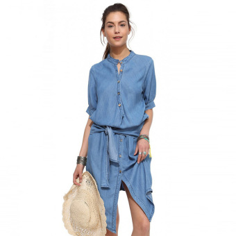 Harga Lace Collar Waist Slim Skirt Before Long After The Short Fold Cowboy Dress(Blue) - intl