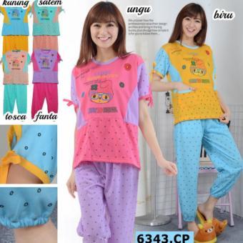 tokolobo baju tidur + celana jogger 6343 cp peach