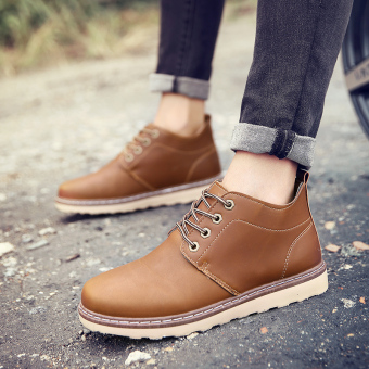 Harga Winter Warm Plush Men's Leather Martin Boots Men Waterproof Snow Boots Leisure Short Boots Retro Shoes For Men (Brown) - intl