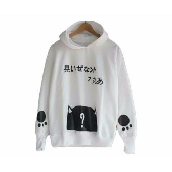 Harga Sweater Wanita Hodie Finger - Roundhand Cat Sweater - Fleece - White