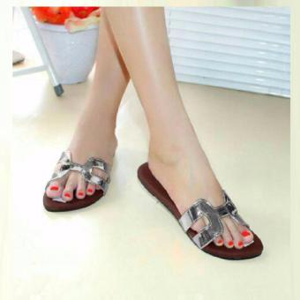 Sandal Teplek Flat Silver NFZ 103