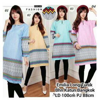Harga 168 Collection Atasan Blouse Elia Long Tunik-Pink
