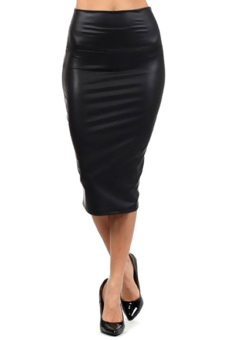 Harga JinGle Women Faux Leather High Waist Below Knee Pencil Skirt S-XL (Black) - Intl