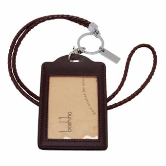 Harga Boshiho Vertical Style Leather ID Card Badge Holder with Keychain Lanyard(Brown with Keychain) - intl