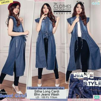SB Collection Sitha Long Cardi Jeans-Biru Tua