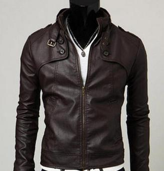 Harga JOOX Korean men's leather jacket collar(Coffee)