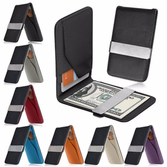 Harga Dompet Money Clip Ultra Slim Men Wallet Card Holder Leather Kulit - Hitam