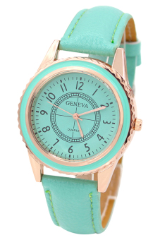 Harga Blue lans Faux Women's Mint Green Leather Strap Watch