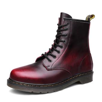 Inggris pria perkakas sepatu Dr. Martens (Merah anggur)