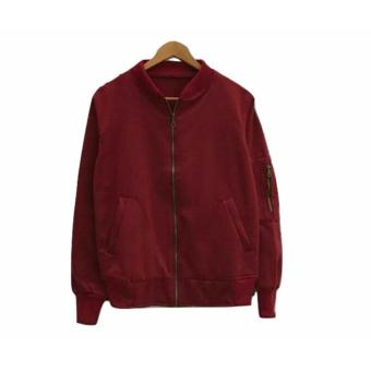 Jacket Bomber Wanita - Cozy Bomber - Maroon - Fleece · >>>>