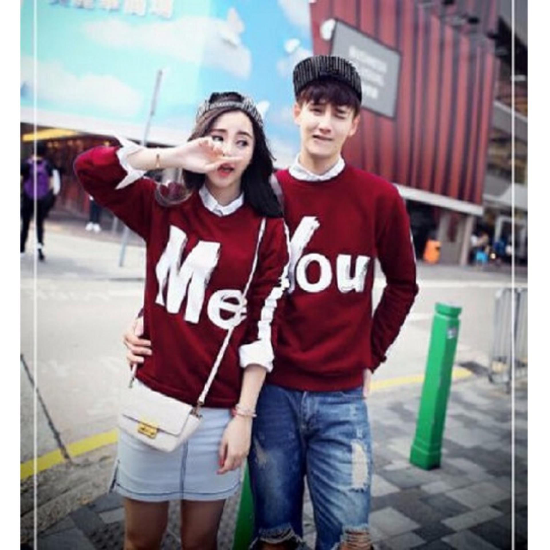 Jakarta Couple - Sweater Couple You & Me Maroon / Sweater Couple YOU ME