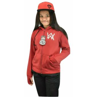 Jaket Anak - Alan Walker Finger - Fleece Tebal - Maroon
