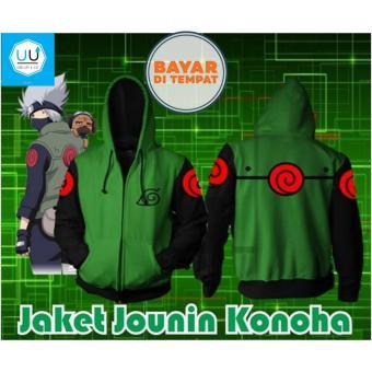 Jaket Anime Hoodie Zipper Naruto Jounin Konoha (JA NRT 13) Best Seller - Green