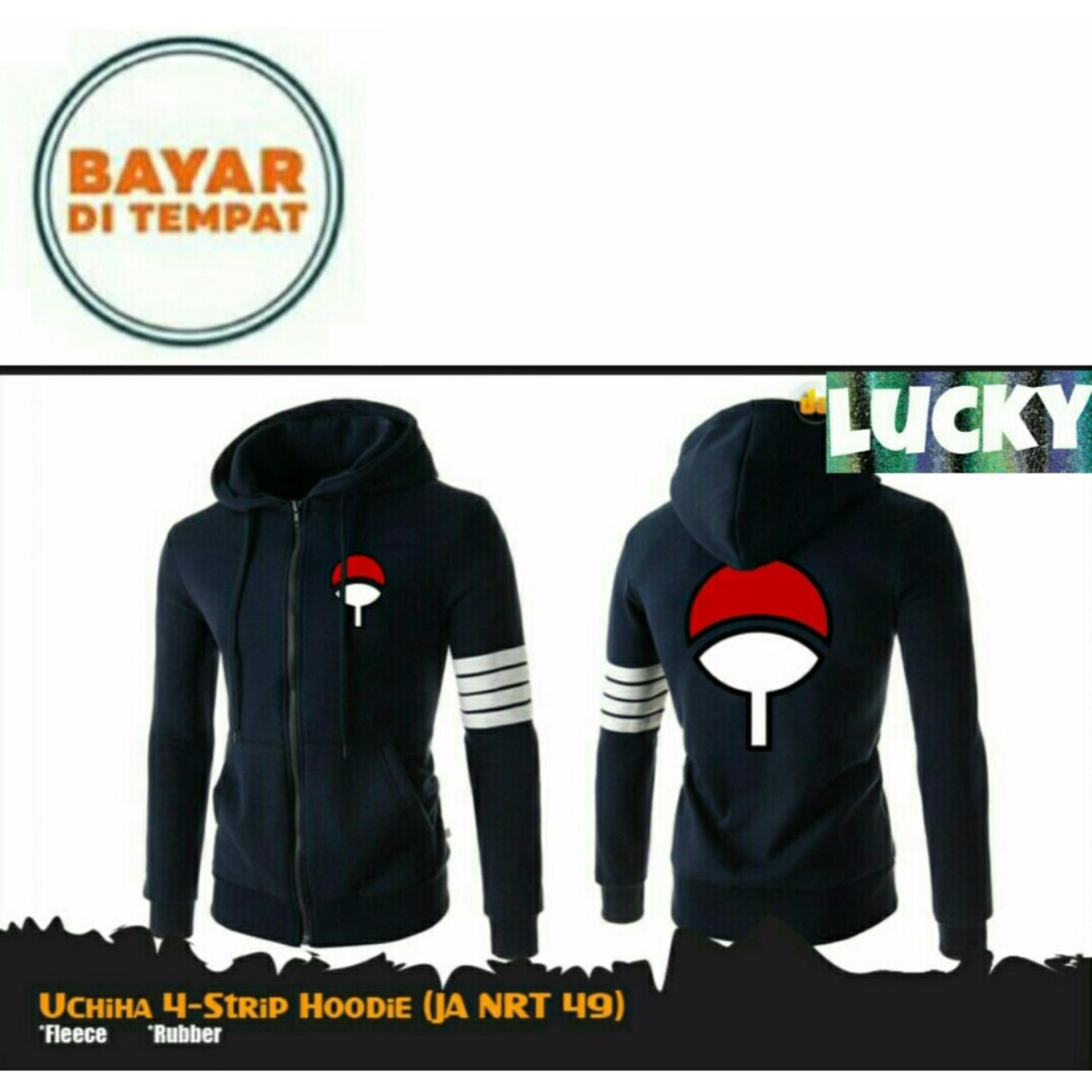 Cheap online Jaket Anime Hoodie Zipper Naruto Sasuke Uchiha 4 Strip Black Best Seller