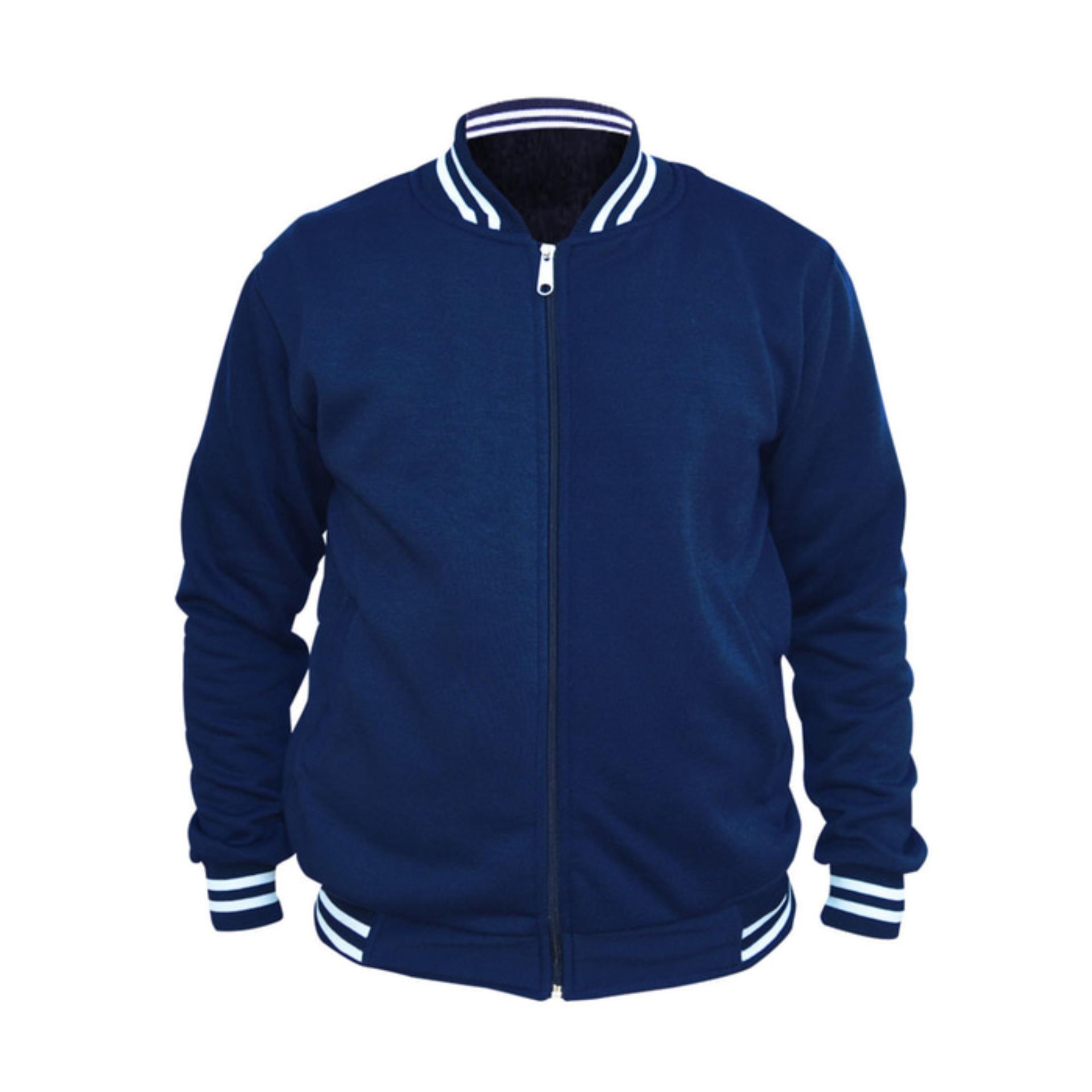 Belanja Murah Jaket Baseball Varsity Polos Biru Navy Dongker Zipper Keren