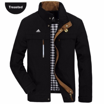 jaket bola jaket treasted black real madrid .