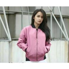 Jaket Bomber Wanita Bahan Despo - Dusty Pink