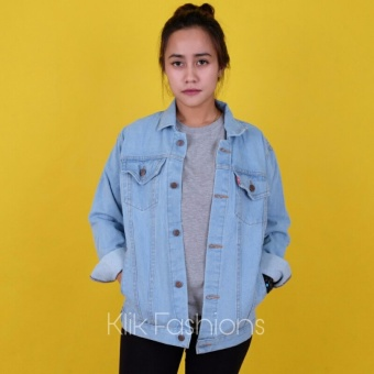Jaket Jeans Denim Cewe Oversize Regular Fit Bioblits