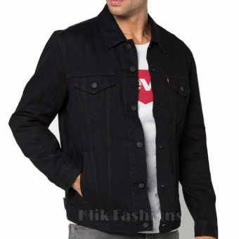 Jaket Jeans Denim Pria Hitam Body Fit Best Seller