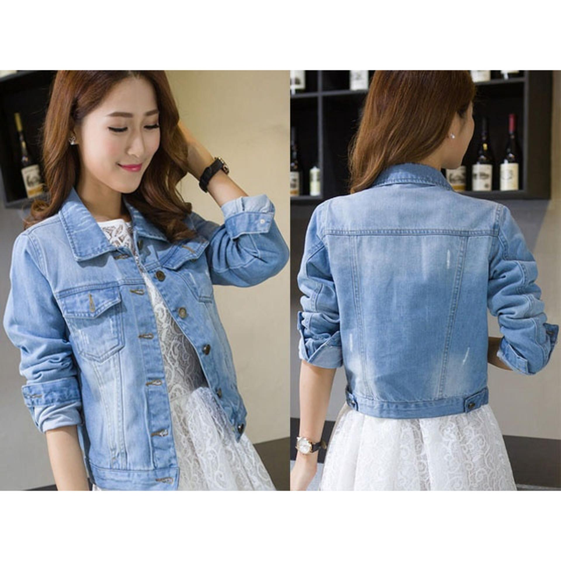 Flash Sale Jaket Jeans Wanita - Lady Jeans Jacket Biru Tua