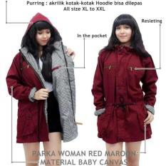 Jaket Parka Wanita Premium Maroon Bolak Balik