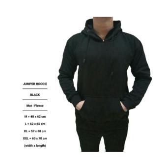 harga Jaket Polos Pria Cowok Hoodie Jumper Sweater Hitam Pekat Keren Gaul Lazada.co.id
