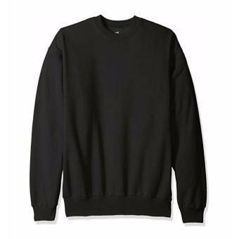 Jaket Sweater Basic Polos Hitam-Unisex
