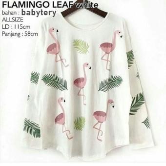 J&C Kaos Jumbo Flamingo Leaf White / Kaos Jumbo / Kaos Big Size / Sweater Big