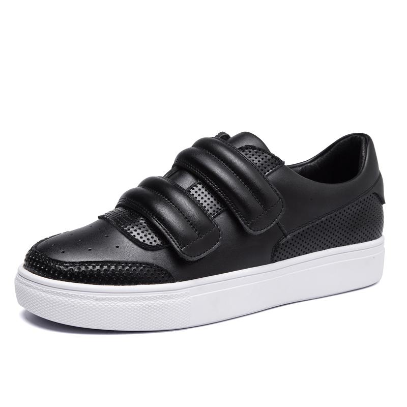 Flash Sale Jassnvwang sederhana musim panas datar berongga sepatu kulit, tunggal putri (Hitam)