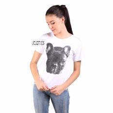 JCLOTHES Kaos Cewe / Tumblr Tee / Kaos Wanita Bulldog - Putih