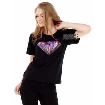 JCLOTHES Kaos Cewe / Tumblr Tee / Kaos Wanita Diamond - Hitam
