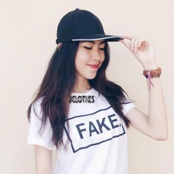 JCLOTHES Kaos Cewe / Tumblr Tee / Kaos Wanita Fake - Putih