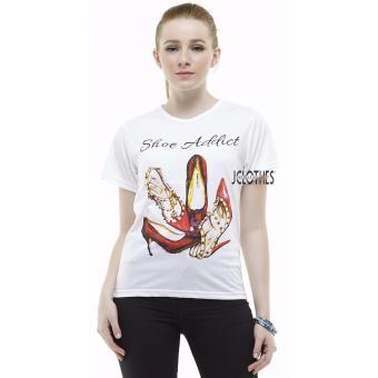 JCLOTHES Kaos Cewe / Tumblr Tee / Kaos Wanita Shoe Addict - Putih